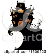 Clipart Of A Haunted House On A Cliff Royalty Free Vector Illustration