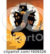 Clipart Of A Haunted House On A Cliff With A Full Moon Royalty Free Vector Illustration