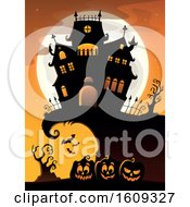 Full Moon Behind A Haunted House And Row Of Halloween Jackolantern Pumpkins
