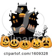 Haunted House And Row Of Halloween Jackolantern Pumpkins