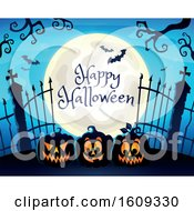 Happy Halloween Greeting On A Full Moon Over Cemetery Entrance With Gates And Jackolantern Pumpkins