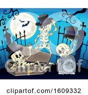 Clipart Of A Group Of Skeletons In A Cemetery Royalty Free Vector Illustration