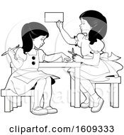 Clipart Of Grayscale Girls Doing Crafts And Activities Royalty Free Vector Illustration