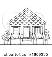 Clipart Of A Lineart Pre School Building Or House Royalty Free Vector Illustration