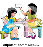 Clipart Of Girls Doing Crafts And Activities Royalty Free Vector Illustration