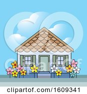 Clipart Of A Pre School Building Or House On A Sunny Day Royalty Free Vector Illustration