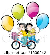 Poster, Art Print Of Boy And Girl Riding A Bike Back To School With Balloons