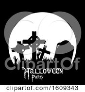 Clipart Of A Full Moon And Silhouetted Graveyard Tombstones With Halloween Party Text Royalty Free Vector Illustration
