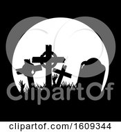 Clipart Of A Full Moon And Silhouetted Graveyard Tombstones Royalty Free Vector Illustration
