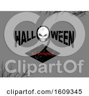 Clipart Of A Skull In The Word Halloween Over The Date On Gray Royalty Free Vector Illustration