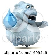 3d White Monkey Yeti Holding A Water Drop On A White Background