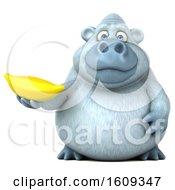 Poster, Art Print Of 3d White Monkey Yeti Holding A Banana On A White Background