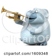 Poster, Art Print Of 3d White Monkey Yeti Playing A Trumpet On A White Background