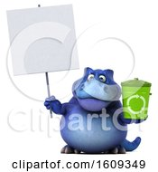 3d Blue T Rex Dinosaur Holding A Recycle Bin On A White Background