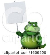 3d Green T Rex Dinosaur Holding A Blank Sign On A White Background