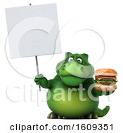 3d Green T Rex Dinosaur Holding A Burger On A White Background