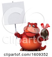 3d Red T Rex Dinosaur Holding A Chocolate Egg On A White Background