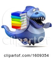 3d Blue T Rex Dinosaur Holding Books On A White Background