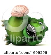 3d Green T Rex Dinosaur Holding A Brain On A White Background