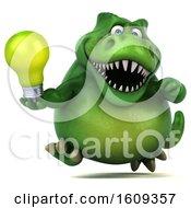 Poster, Art Print Of 3d Green T Rex Dinosaur Holding A Light Bulb On A White Background