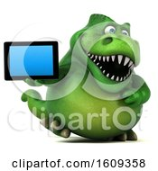 3d Green T Rex Dinosaur Holding A Tablet On A White Background