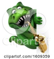 3d Green T Rex Dinosaur Holding A Saxophone On A White Background