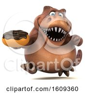 3d Brown T Rex Dinosaur Holding A Donut On A White Background