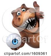 3d Brown T Rex Dinosaur Holding An Eyeball On A White Background