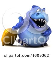 Poster, Art Print Of 3d Blue T Rex Dinosaur Traveling On A White Background