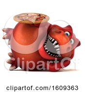 3d Red T Rex Dinosaur Holding A Pizza On A White Background