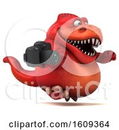 3d Red T Rex Dinosaur Holding A Camera On A White Background