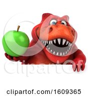 3d Red T Rex Dinosaur Holding An Apple On A White Background