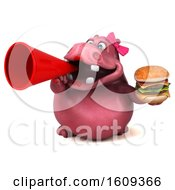 3d Pink Henrietta Hippo Holding A Burger On A White Background