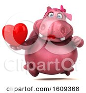 Clipart Of A 3d Pink Henrietta Hippo Holding A Heart On A White Background Royalty Free Illustration