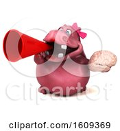 Clipart Of A 3d Pink Henrietta Hippo Holding A Brain On A White Background Royalty Free Illustration