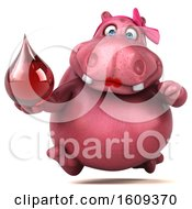 Clipart Of A 3d Pink Henrietta Hippo Holding A Blood Drop On A White Background Royalty Free Illustration by Julos