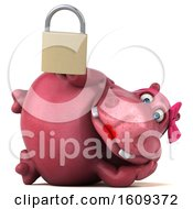 Clipart Of A 3d Pink Henrietta Hippo Holding A Padlock On A White Background Royalty Free Illustration