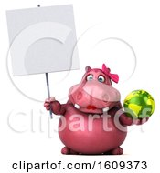 Clipart Of A 3d Pink Henrietta Hippo Holding A Globe On A White Background Royalty Free Illustration
