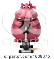 Clipart Of A 3d Pink Henrietta Hippo Exercising On A Spin Bike On A White Background Royalty Free Illustration