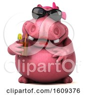 Clipart Of A 3d Pink Henrietta Hippo Holding A Drink On A White Background Royalty Free Illustration by Julos