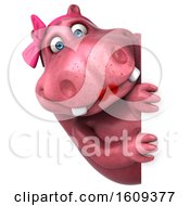 Clipart Of A 3d Pink Henrietta Hippo On A White Background Royalty Free Illustration
