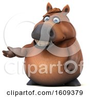 Clipart Of A 3d Chubby Brown Horse Presenting On A White Background Royalty Free Illustration