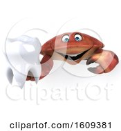 3d Crab Holding A Tooth On A White Background
