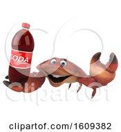 3d Crab Holding A Soda On A White Background