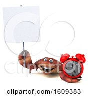 3d Crab Holding An Alarm Clock On A White Background