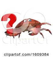 3d Crab Holding A Question Mark On A White Background