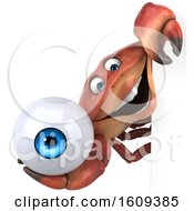 3d Crab Holding An Eyeball On A White Background