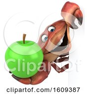 3d Crab Holding An Apple On A White Background