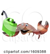 3d Crab Holding A Gas Can On A White Background