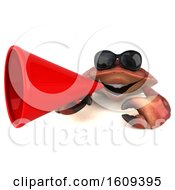 Clipart Of A 3d Crab Holding A Megaphone On A White Background Royalty Free Illustration